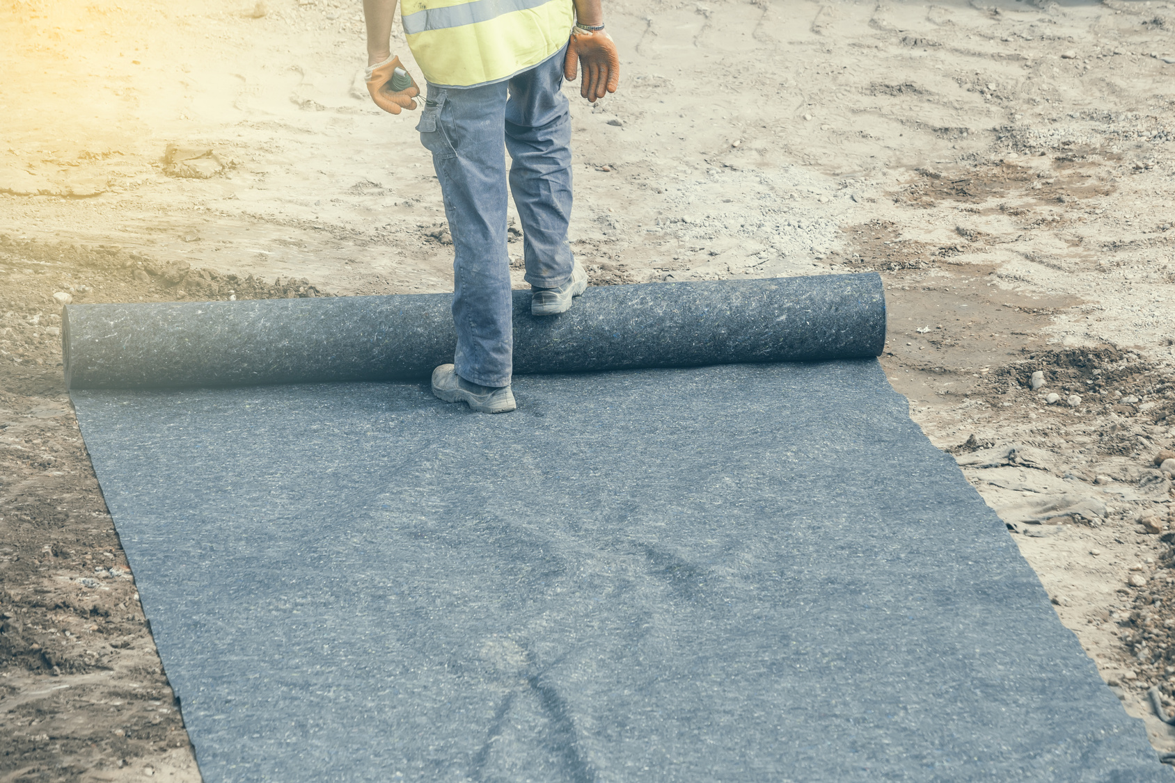 Installation of geotextile